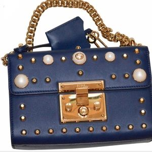 Gucci Navy Pearl Studded Shoulder Bag